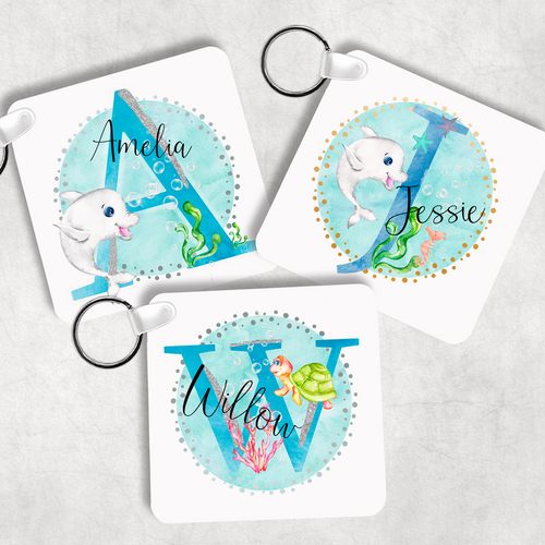Marine Sea Life Alphabet Personalised Keyring Bag Tag