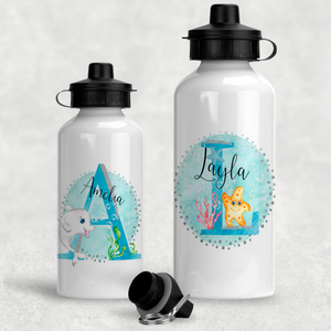 Marine Sea Life Alphabet Personalised Aluminium Water Bottle 400/600ml