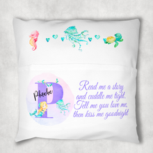 Mermaid Alphabet Personalised Pocket Book Cushion Cover White Canvas