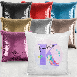 Mermaid Alphabet Personalised Mermaid Sequin Cushion