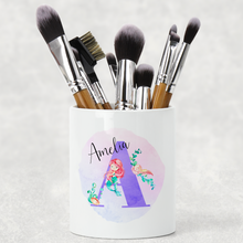 Mermaid Initial Personalised Pencil Caddy / Make Up Brush Holder