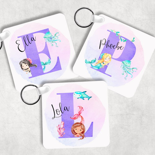 Mermaid Alphabet Personalised Keyring Bag Tag