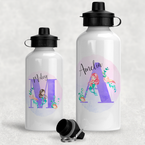 Mermaid Alphabet Personalised Aluminium Water Bottle 400/600ml