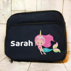 Mermaid Unicorn Insulated Personalised Lunch Bag Back to School -  - Molly Dolly Crafts