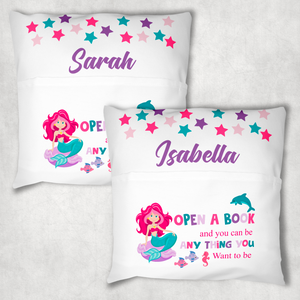 Mermaid Personalised Pocket Book Cushion Cover White Canvas