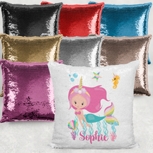 Mermaid Unicorn Personalised Mermaid Sequin Cushion