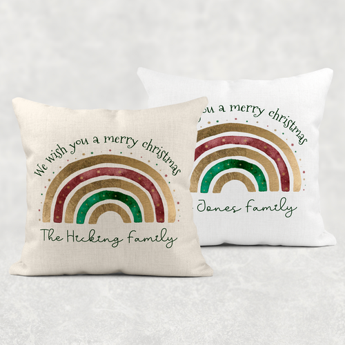Festive Rainbow Personalised Cushion Cover Linen White Canvas