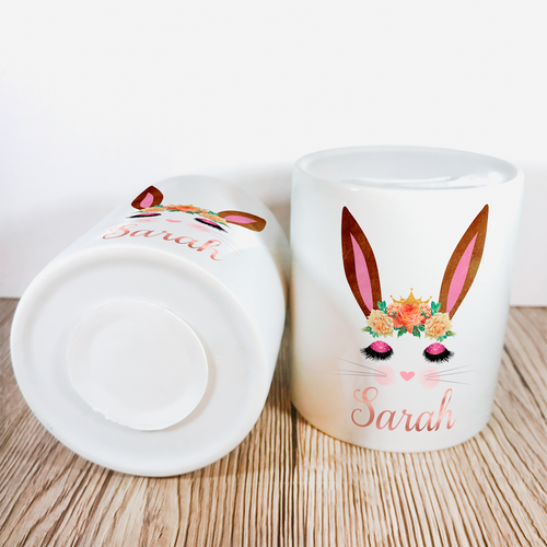 Personalised Bunny Money Pot | Brown Ears & Orange Flowers - Money Bank - Molly Dolly Crafts