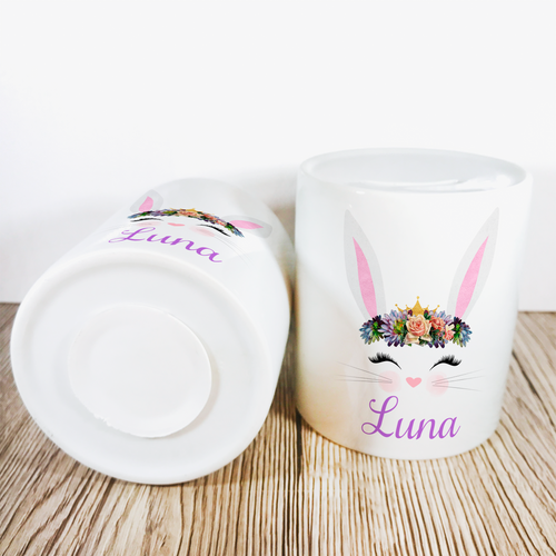 Personalised Bunny Money Pot | White Ears & Lilac/Peach Flowers - Money Bank - Molly Dolly Crafts