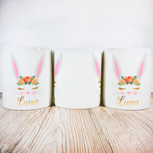 Personalised Bunny Money Pot | White Ears & Orange Flowers - Money Bank - Molly Dolly Crafts