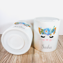 Personalised Kitty Money Pot | Blue Flowers - Money Bank - Molly Dolly Crafts