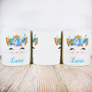 Personalised Kitty Money Pot | Blue Flowers with Crown