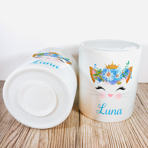 Personalised Kitty Money Pot | Blue Flowers with Crown - Money Bank - Molly Dolly Crafts