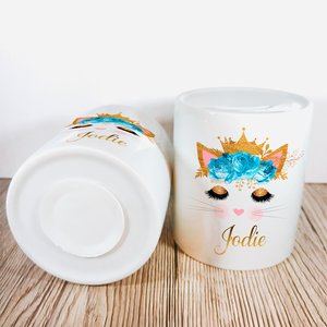 Personalised Kitty Money Pot | Blue & Gold Flowers - Money Bank - Molly Dolly Crafts