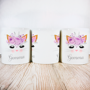 Personalised Kitty Money Pot | Lilac Flowers - Money Bank - Molly Dolly Crafts