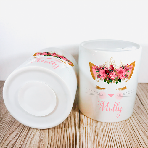 Personalised Kitty Money Pot | Pink Flowers - Money Bank - Molly Dolly Crafts
