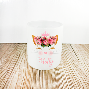 Personalised Kitty Money Pot | Pink Flowers with Crown