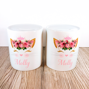 Personalised Kitty Money Pot | Pink Flowers with Crown - Money Bank - Molly Dolly Crafts