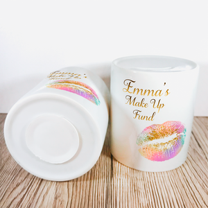 Personalised Make Up Fund Money Pot | Multicoloured Lips - Money Bank - Molly Dolly Crafts