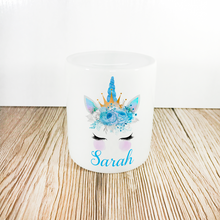 Personalised Unicorn Money Pot | Blue Flowers & Horn - Money Bank - Molly Dolly Crafts