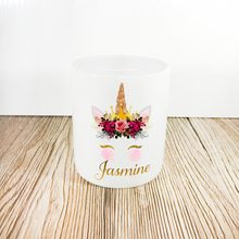 Personalised Unicorn Money Pot | Pink Flowers & Gold Horn