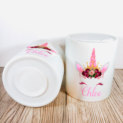 Personalised Unicorn Money Pot | Pink Flowers & Pink Horn - Money Bank - Molly Dolly Crafts