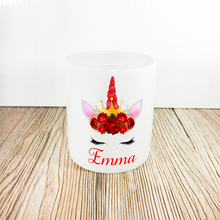 Personalised Unicorn Money Pot | Red Flowers & Red Horn - Money Bank - Molly Dolly Crafts