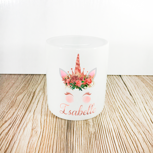 Personalised Unicorn Money Pot | Rose Gold Flowers & Horn - Money Bank - Molly Dolly Crafts
