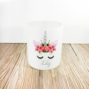 Personalised Unicorn Money Pot | Pink Flowers & Silver Horn