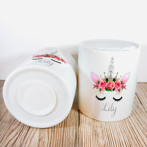 Personalised Unicorn Money Pot | Pink Flowers & Silver Horn - Money Bank - Molly Dolly Crafts