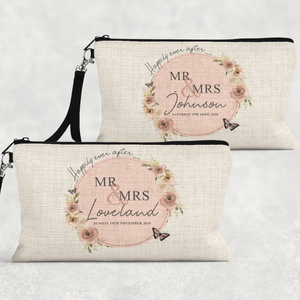 Mr & Mrs Wedding Day Linen Make Up Bag