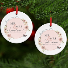 Mr & Mrs Wedding Day Personalised Ceramic Round Christmas Bauble