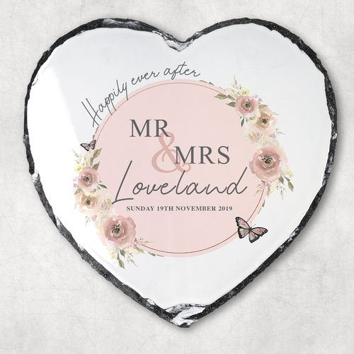 Wedding Happily Ever After Personalised Slate