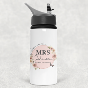 Mr & Mrs Happily Ever After Personalised Straw Bottle Bride Groom