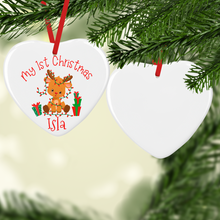 My First Christmas Rudolph Ceramic Round or Heart Christmas Bauble