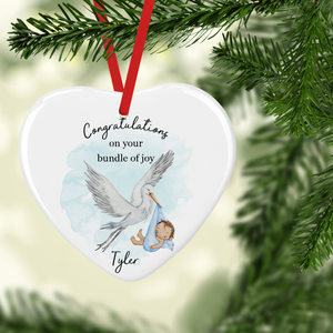 Congratulations New Baby Stork Watercolour Personalised Ceramic Round or Heart Christmas Bauble