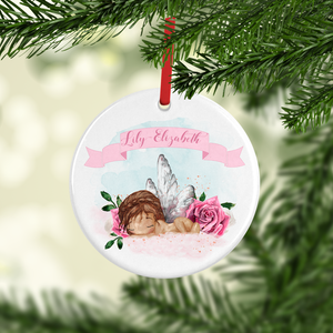 New Baby Girl Watercolour Personalised Ceramic Round Christmas Bauble