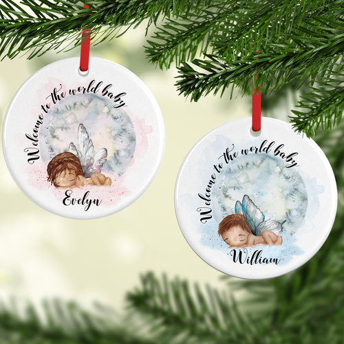 New Baby Welcome to the World Watercolour Personalised Ceramic Round Christmas Bauble