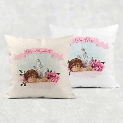 Baby Girl Newborn Personalised Cushion Linen White Canvas