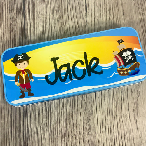 Personalised Printed Pirate School Pencil Tin