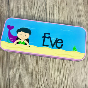 Personalised Printed Mermaid School Pencil Tin