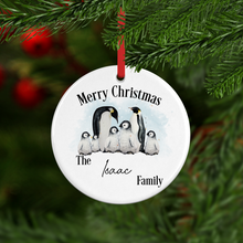 Penguin Family Personalised Ceramic Round or Heart Christmas Bauble