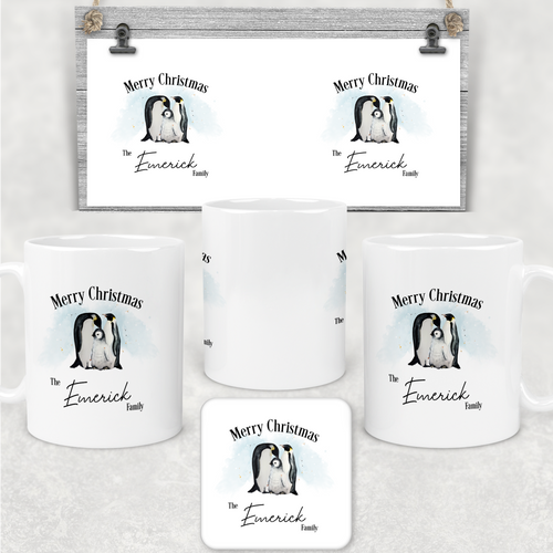 Penguin Family Personalised Christmas Eve Mug and Coaster Set