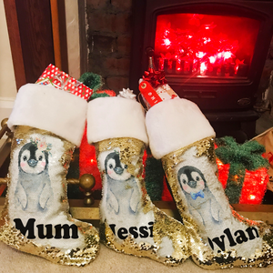 Personalised Penguin Gold Sequin Christmas Stocking - Christmas - Molly Dolly Crafts