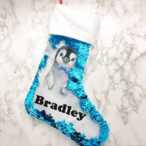 Personalised Penguin Fur Topped Sequin Christmas Stocking