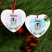 Penguin Watercolour with Name Ceramic Round or Heart Christmas Bauble