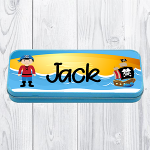 Personalised Printed Pirate School Pencil Tin - Pencil Case - Molly Dolly Crafts