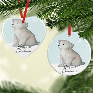 Polar Bear 1st Christmas Watercolour Personalised Ceramic Round or Heart Christmas Bauble