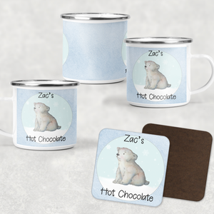 Polar Bear Personalised Camping Mug & Coaster Christmas Hot Chocolate