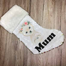 Personalised Polar Bear Gold Sequin Christmas Stocking - Christmas - Molly Dolly Crafts